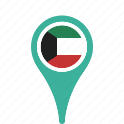 county, flag, kuwait, map, national, pin icon