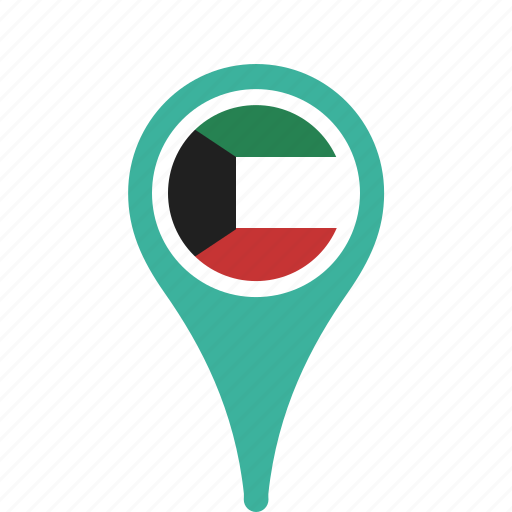 country, county, flag, kuwait, map, national, pin icon
