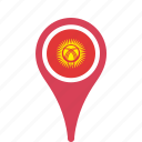 county, flag, kyrgyzstan, map, national, pin icon