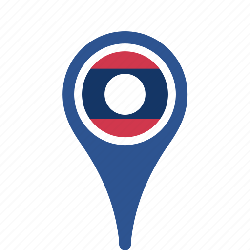 county, flag, laos, map, national, pin icon