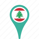 county, flag, lebanon, map, national, pin icon