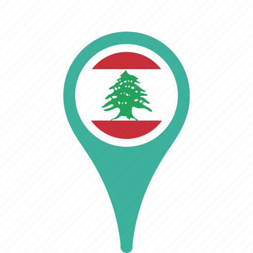 country, county, flag, lebanon, map, national, pin icon