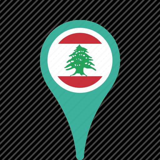 county, flag, lebanon, map, national, pin icon