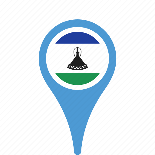 county, flag, lesotho, map, national, pin icon