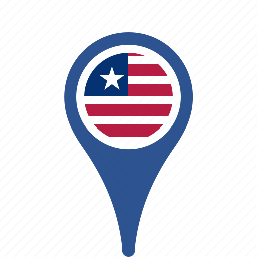country, county, flag, liberia, map, national, pin icon
