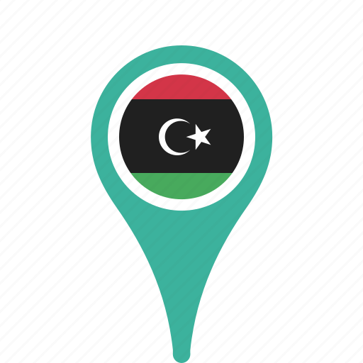 country, county, flag, libya, map, national, pin icon