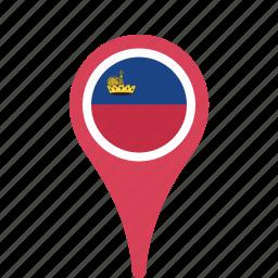 county, flag, liechtenstein, map, national, pin icon