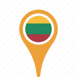 country, county, flag, lithuania, map, national, pin icon