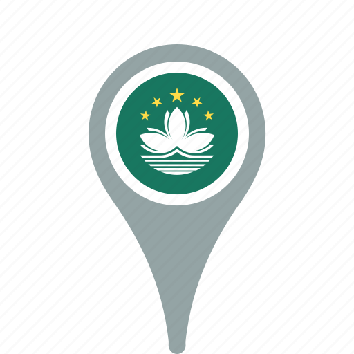 county, flag, macau, map, national, pin icon