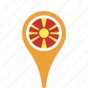 county, flag, macedonia, map, national, pin icon