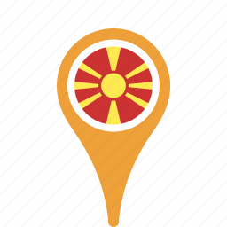 country, county, flag, macedonia, map, national, pin icon