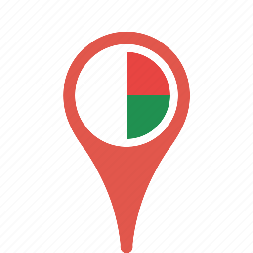 country, county, flag, madagascar, map, national, pin icon