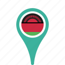 country, county, flag, malawi, map, national, pin icon