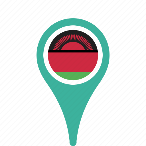 county, flag, malawi, map, national, pin icon