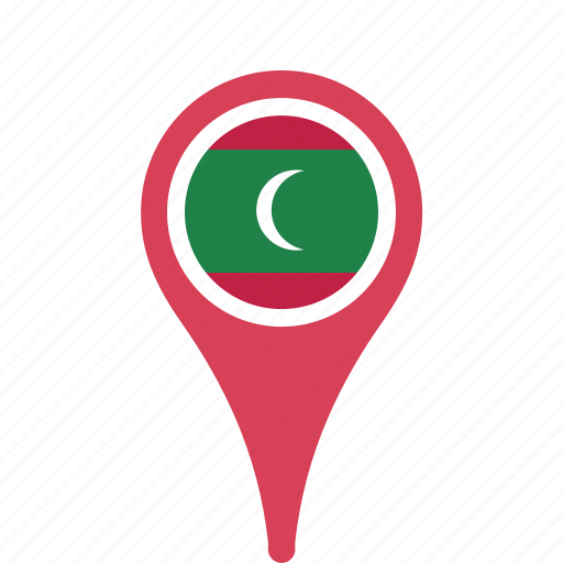 county, flag, maldives, map, national, pin icon