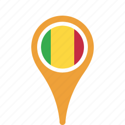 county, flag, mali, map, national, pin icon