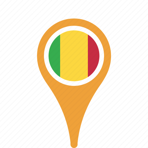 country, county, flag, mali, map, national, pin icon