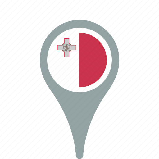 country, county, flag, malta, map, national, pin icon