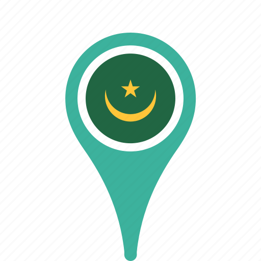 county, flag, map, mauritania, national, pin icon