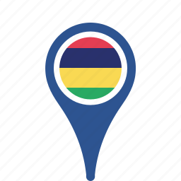 country, county, flag, map, mauritius, national, pin icon