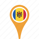 county, flag, map, moldova, national, pin icon