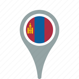 county, flag, map, mongolia, national, pin icon
