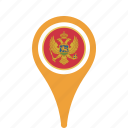 county, flag, map, montenegro, national, pin icon