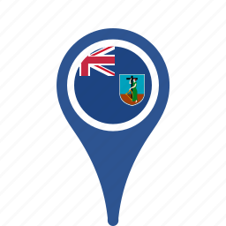 county, flag, map, montserrat, national, pin icon