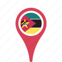 country, county, flag, map, mozambique, national, pin icon