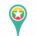 county, flag, map, myanmar, national, pin icon