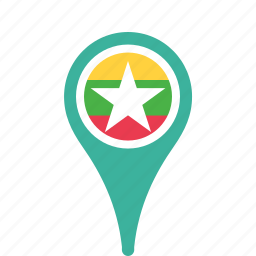 country, county, flag, map, myanmar, national, pin icon