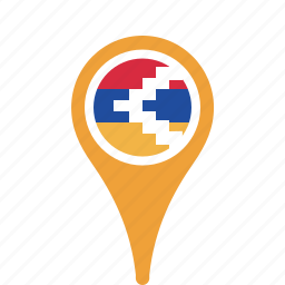 country, county, flag, karabakh, map, nagorno, national, pin icon
