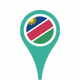 county, flag, map, namibia, national, pin icon