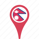 country, county, flag, map, national, nepal, pin icon