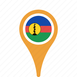 caledonia, country, county, flag, map, national, new, pin icon