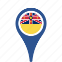 country, county, flag, map, national, niue, pin icon