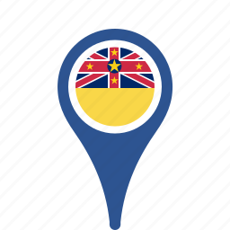 county, flag, map, national, niue, pin icon