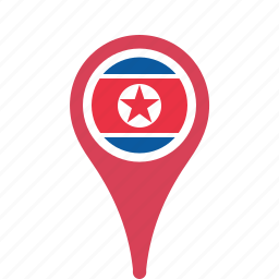 country, county, flag, korea, map, national, north, pin icon