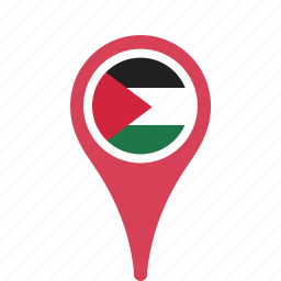 county, flag, map, national, palestine, pin icon