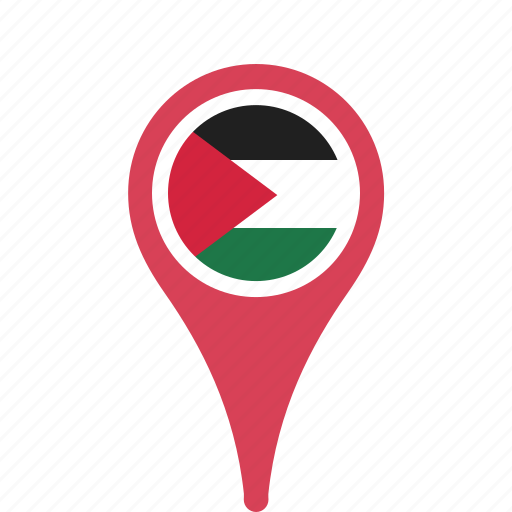 country, county, flag, map, national, palestine, pin icon