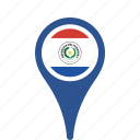 county, flag, map, national, paraguay, pin icon