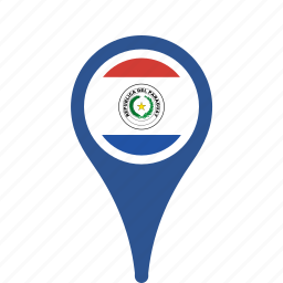 country, county, flag, map, national, paraguay, pin icon