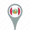 county, flag, map, national, peru, pin icon