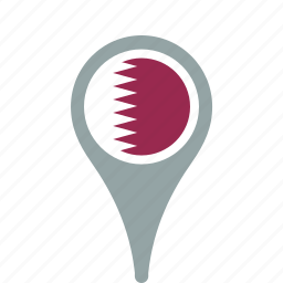 country, county, flag, map, national, pin, qatar icon