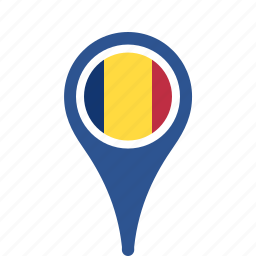 country, county, flag, map, national, pin, romania icon