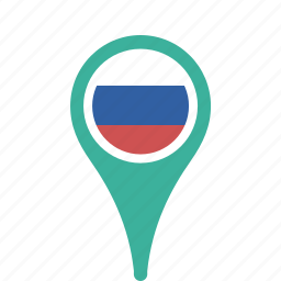 country, county, flag, map, national, pin, russia icon