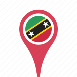 and, country, county, flag, kitts, map, national, nevis, pin, saint icon