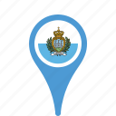 county, flag, map, marino, national, pin, san icon