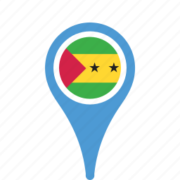 and, country, county, flag, map, national, pin, principe, sao, tome icon
