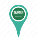 arabia, country, county, flag, map, national, pin, saudi icon